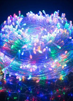 Новогодняя гирлянда 100-500Led мульти. Прозрачный кабель