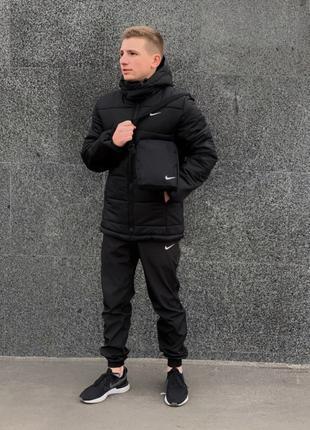 Зимний комплект Найк черный + штаны утепленные. Барсетка и перчат