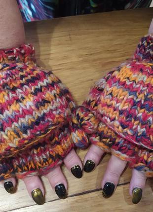 Теплые варежки рукавицы с открытыми пальчиками