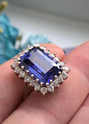 Перстень кольцо серебро 925 пробы сапфир
