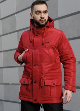 Парка Зима Nike мужская красная.