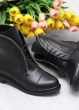 Стильные удобные высокие женские черные ботинки из натуральной...