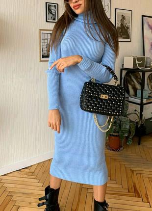 Вязаное платье-гольф голубого цвета макси длины 120 см