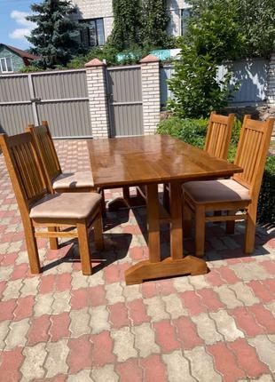 Продам стол и стулья(дуб)
