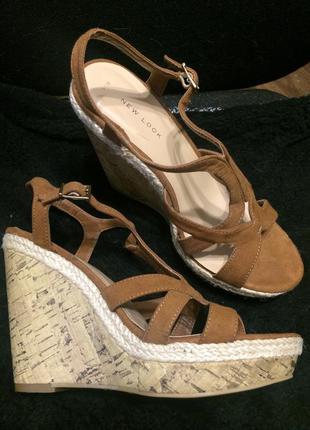 New look замшевые коричневые босоножки сандали на платформе та...