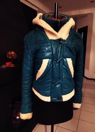 Зимняя меховая куртка на овчинке эко-кожа зима капюшон бомбер