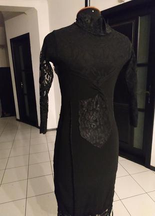 Черное маленькое платье кружево гипюр италия миди
