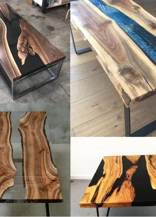 Стол из слэба с эпоксидной смолой (эпоксидка) на заказ