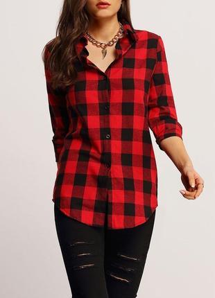 Женская рубашка клетка красная-черная,актуальная,очень модная ...