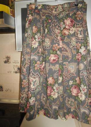 #распродажа!!!# винтажная теплая широкая юбка миди на подкладк...