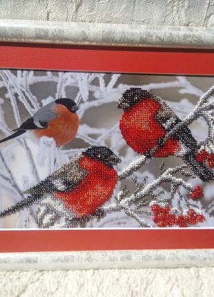 РУЧНАЯ РАБОТА !!! Картина бисером Снегири, зима, рябина