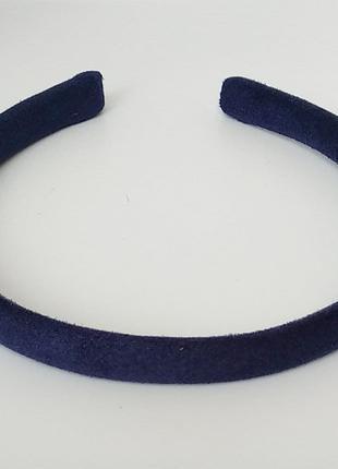 Обруч на голову ободок из замши женский темно синего цвета узкий