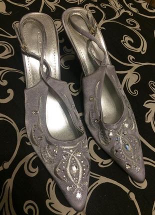 Spot on туфли босоножки серебристые