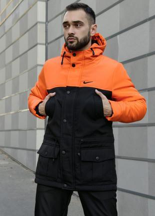 Парка Зима Nike (Найк) мужская оранжево-черная