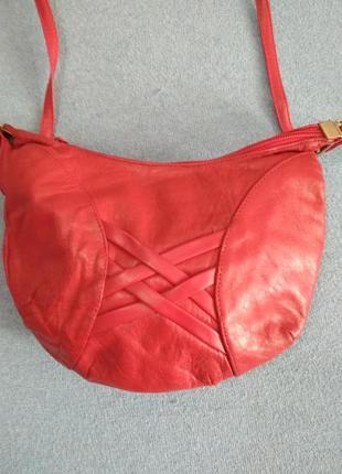Красная сумка натуральная кожа