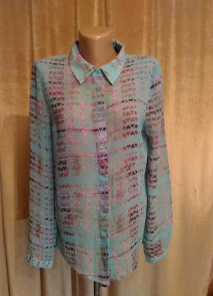 Шифоновая блузка рубашка  next мятно-розового цвета, размер 12