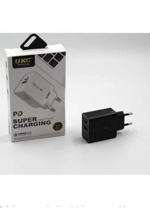 Адаптер зарядка Fast Charge 220v 18w APD 889 USB+type C