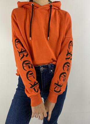 Оранжевое женское худи