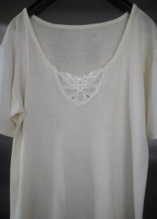 Термобелье - футболка согревающая из овечьей шерсти с кружевом