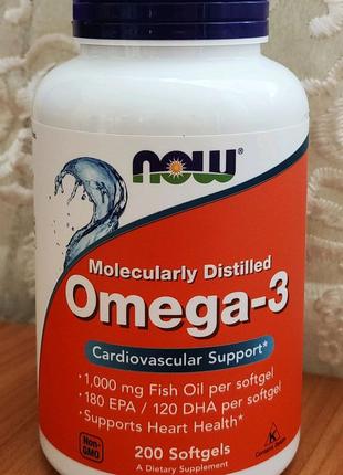 Омега 3, Omega-3 180 EPA/120 DHA Now Foods, 200 softgels