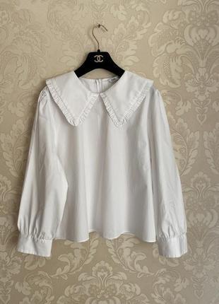 Zara белая блуза рубашка с широким воротником оверсайз