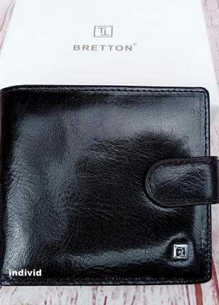 Мужской кожаный кошелек bretton. кожаный бумажник в коробке. м...