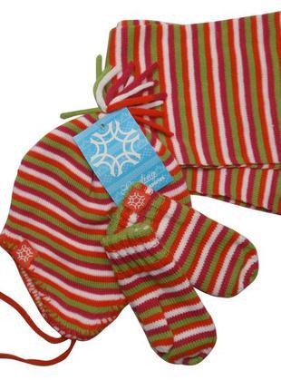 Комплект на флисе шапка шарф варежки набор для девочки 6-12 мес