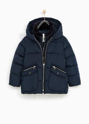 Пуховик для девочки zara зимняя куртка 140-152 см