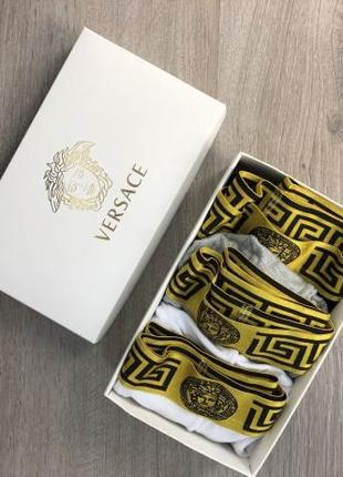 Акция! Набор Трусов Versace Pack 3 Gold White/Black/Gray Нижне...