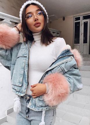 Женская джинсовая короткая утепленная куртка со съемным розовы...