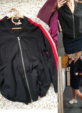 Стильная легкая куртка/ветровка/бомбер с лампасами, neon rose,...