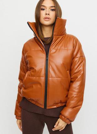 Куртка эко кожаная стеганання укороченная