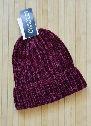 Крутая бордовая плюшевая шапка h&m new