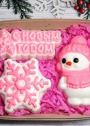 Набор мыла снеговик снежинка и с новым годом.