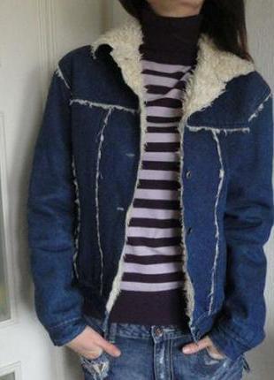 Крутая утепленная джинсовая куртка topshop