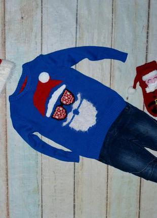Новогодний свитер и джинсы на 3-4 года