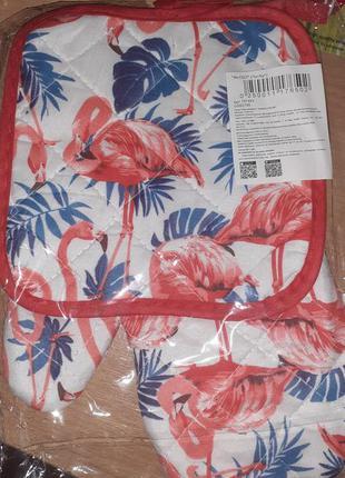 Набор рукавица + прихватка фламинго