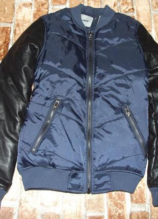 Куртка бомбер с кожаными рукавами 14 лет  164см asos