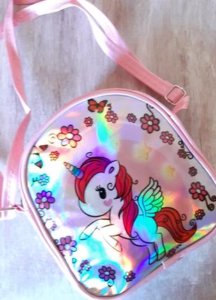 Сумка детская лакированный кожзам сумочка с пони единорогом