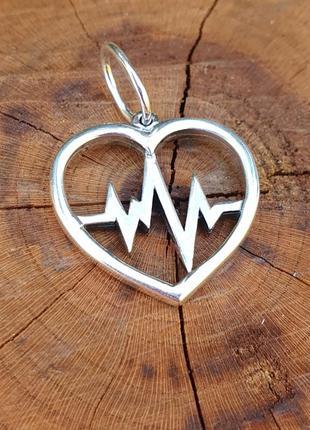 Кулон сердце с пульсом