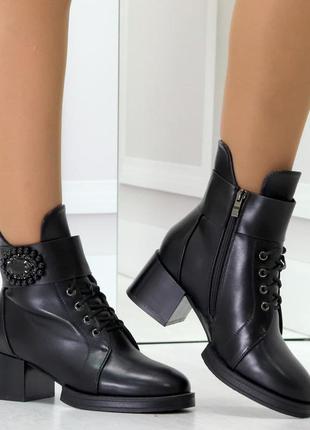 Эффектные черные зимние женские ботинки ботильоны на удобном к...