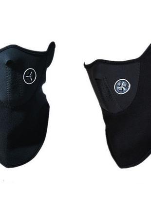 Теплая защитная маска, вело для шеи, лица, черная