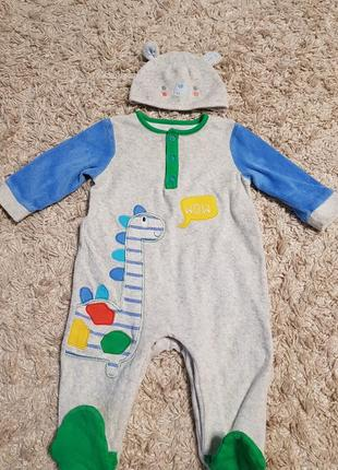 Велюровый человечек mothercare с шапулей, по бирке - размер 3-...