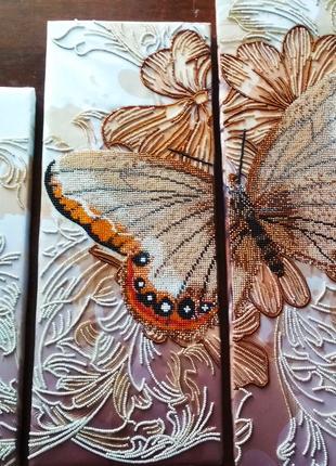 Вышивка бисером триптих Бархатные крылья