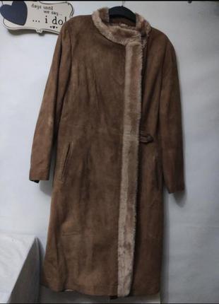 Итальянская винтажная дубленка замшевое пальто