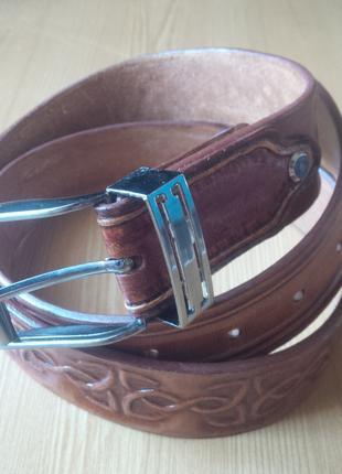 Кожаный ремень ручной работы кельтские цепи