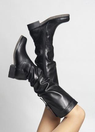Кожаные осенние сапоги женские внутри байка, каблук 3 см