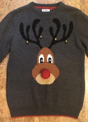 Мужской новогодний свитер кофта серый на фотосессию с оленем
