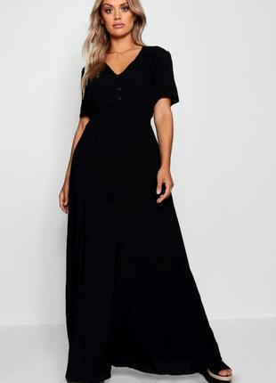 Длинное вискозное платье с разрезом от boohoo