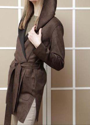 Лёгкое пальто-халат в шоколадном цвете, размер xs